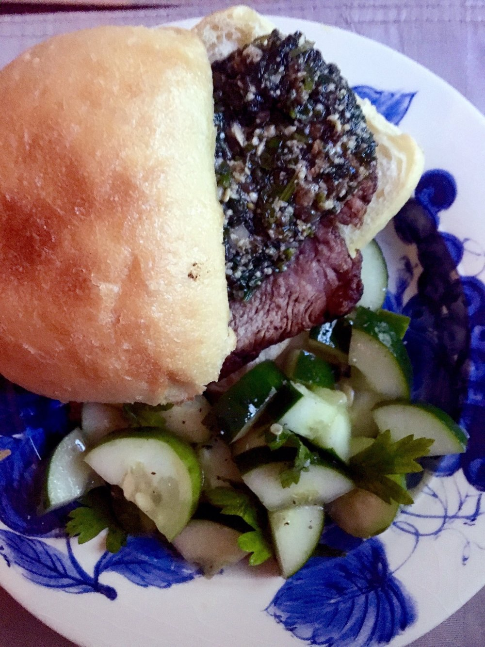 PORCHETTA STYLE SANDWICHES WITH BABY KALE PESTO & MARINATED CUCUMBER SALAD - BLUE APRON