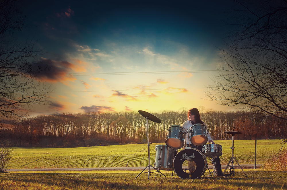High School Senior Portrait Photography Idea Natural Drums Music