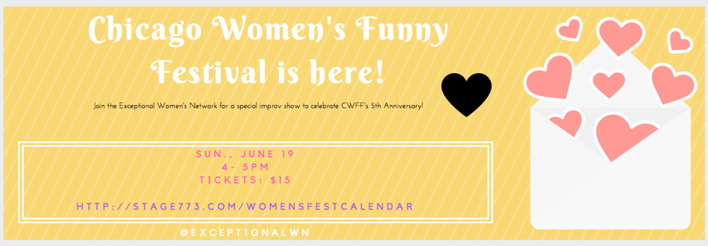 Thank you for joining EWN to celebrate the Chicago Women's Funny Festival's 5th Anniversary! It was great fun to be on stage and hear your laughs.
