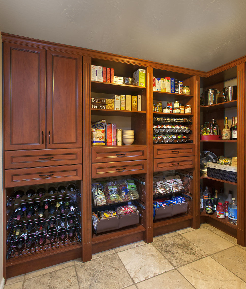 Warm Cognac Pantry in Premier with Wine Spice Basket Slide Outs Neil 2013.jpg