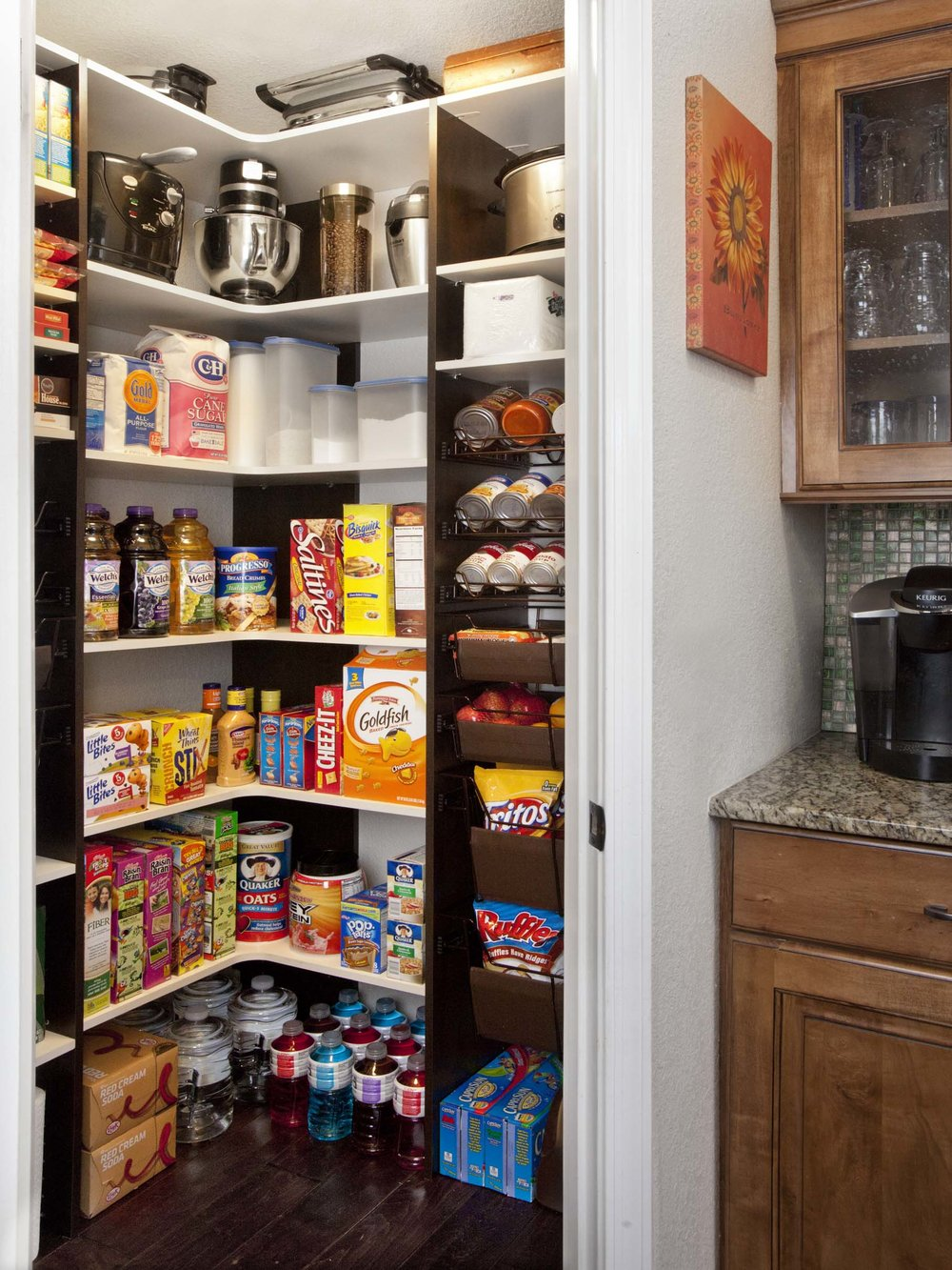 White Corner Shelf Pantry with Chocolate Pear Side Panels-Eric 2012.jpg