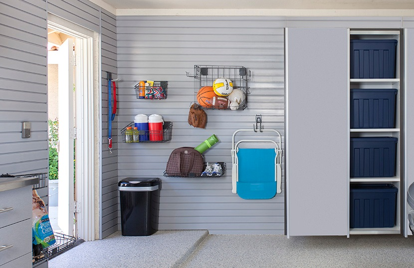 Slate Wall creates a perfect staging ground for garage hooks, racks, baskets, and organizers.