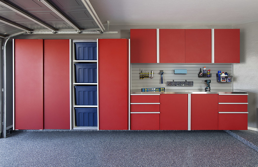 Red Sliding Cabinets OPEN w Stainless Workbench-Grey Slatwall-Aug 2013.jpg