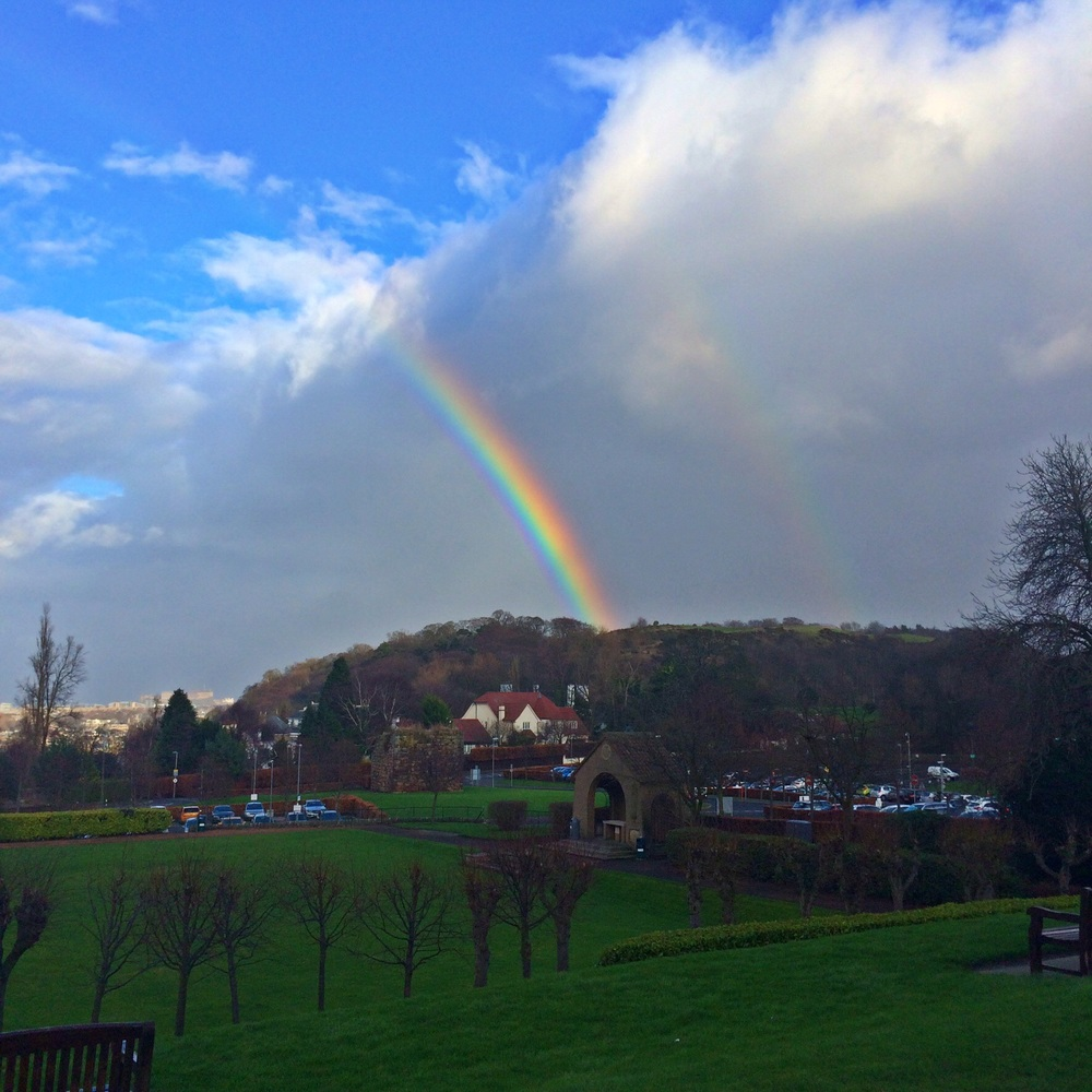 The rainbow of hope at Edinburgh Napier University today.