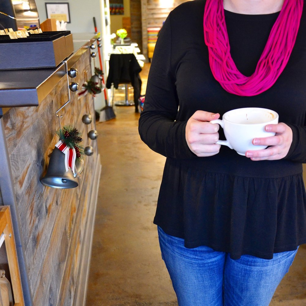 Featuring the Grace Scarf, my Apple Chai, and a fabulous coffee shop.