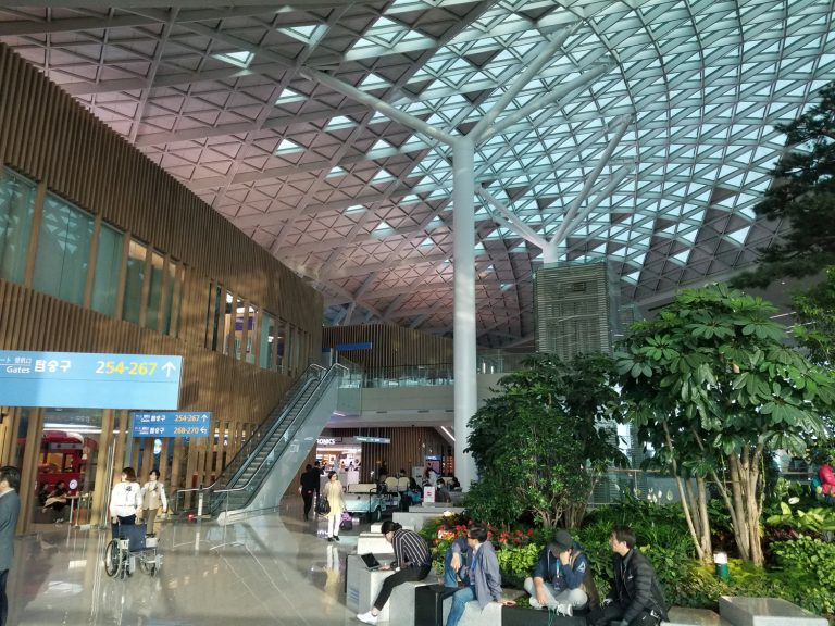The Seoul Airport was very nice with live trees even. Obviously just having hosted the Olympics, it was all fixed up.
