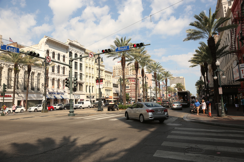 Busy Canal Street. Adjacent to Royal is the famed Bourbon Street.