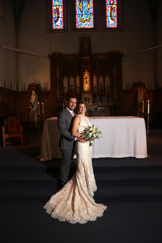 Formal Catholic Church wedding portraits New England