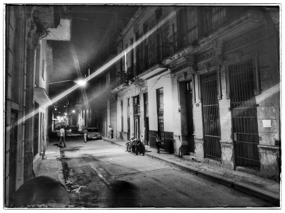 Street level at our Casa at night.