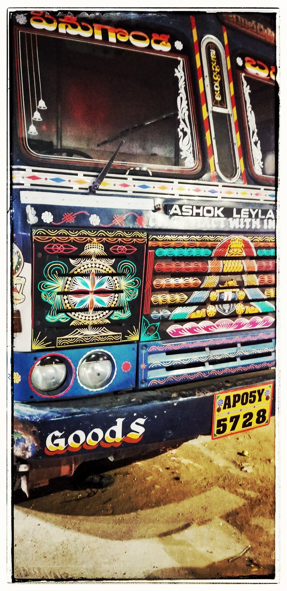 Trucks, like the women's Sarees, are also colorful.
