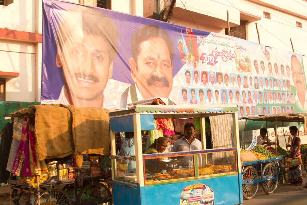 Vinukonda India, street scene. Note the political ads.