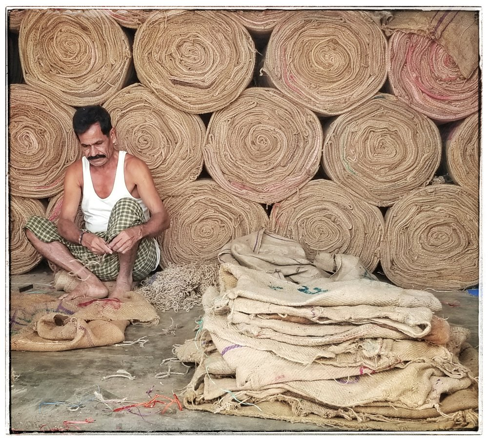 Making canvas bags. Gudiwada India..