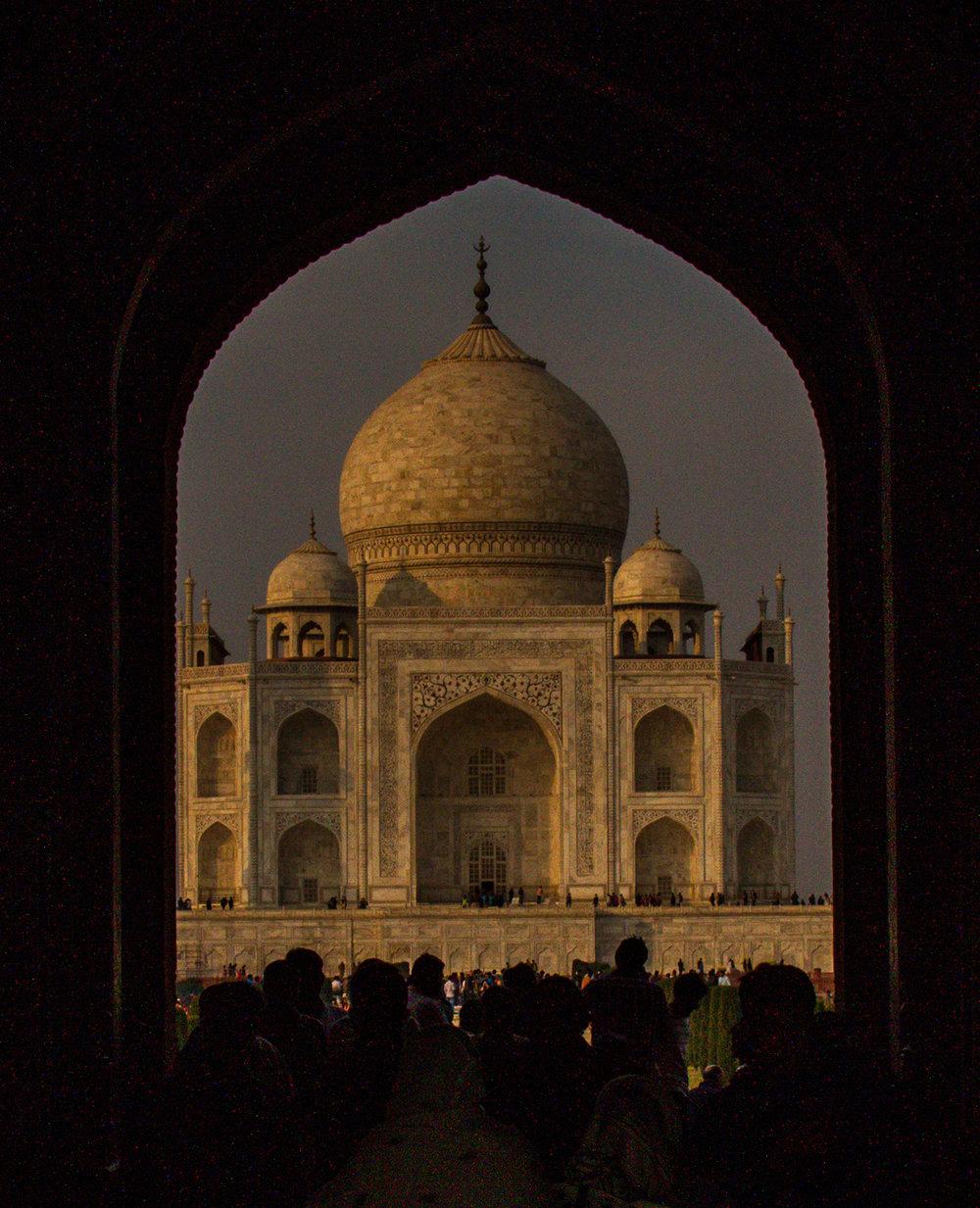 Entrance to the Taj Mahal near sunset.
