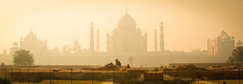 Workers in the original foundation ? of the Black Taj Mahal.