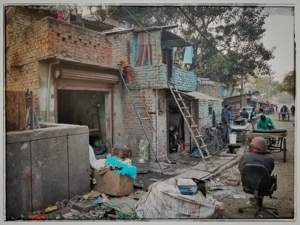 The inner city slums of Old Delhi.