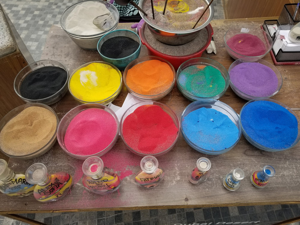 Colored sand.