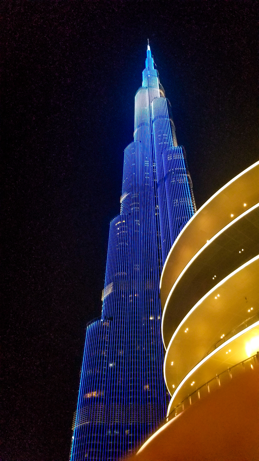 Burj Khalifa lights up at night in a variety of patterns.