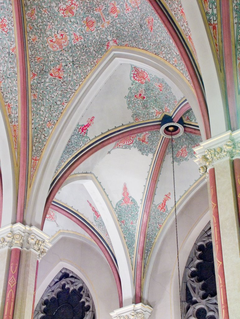 Gothic or pointed arches used inside the building create tall, open spaces and directs the eye skyward and giving the interior a grand appearance.