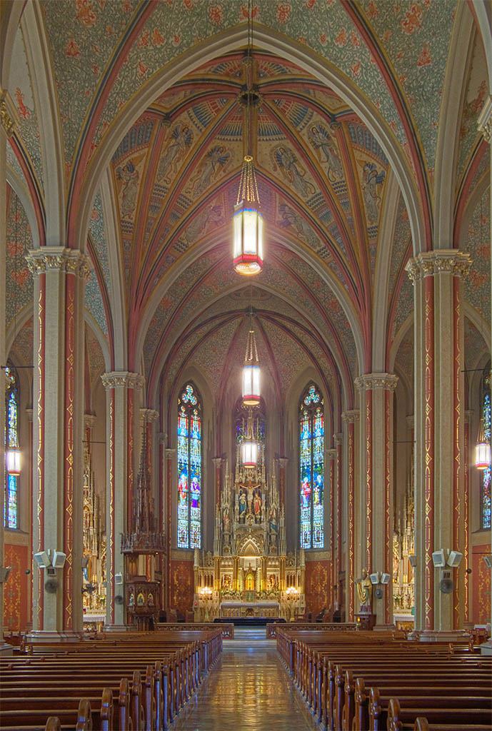 The elaborate interior frescoes were painted by Fridolin Fuchs, another German immigrant. Fuchs said he based his ceiling frescoes on the artwork in the Gothic churches of Germany.