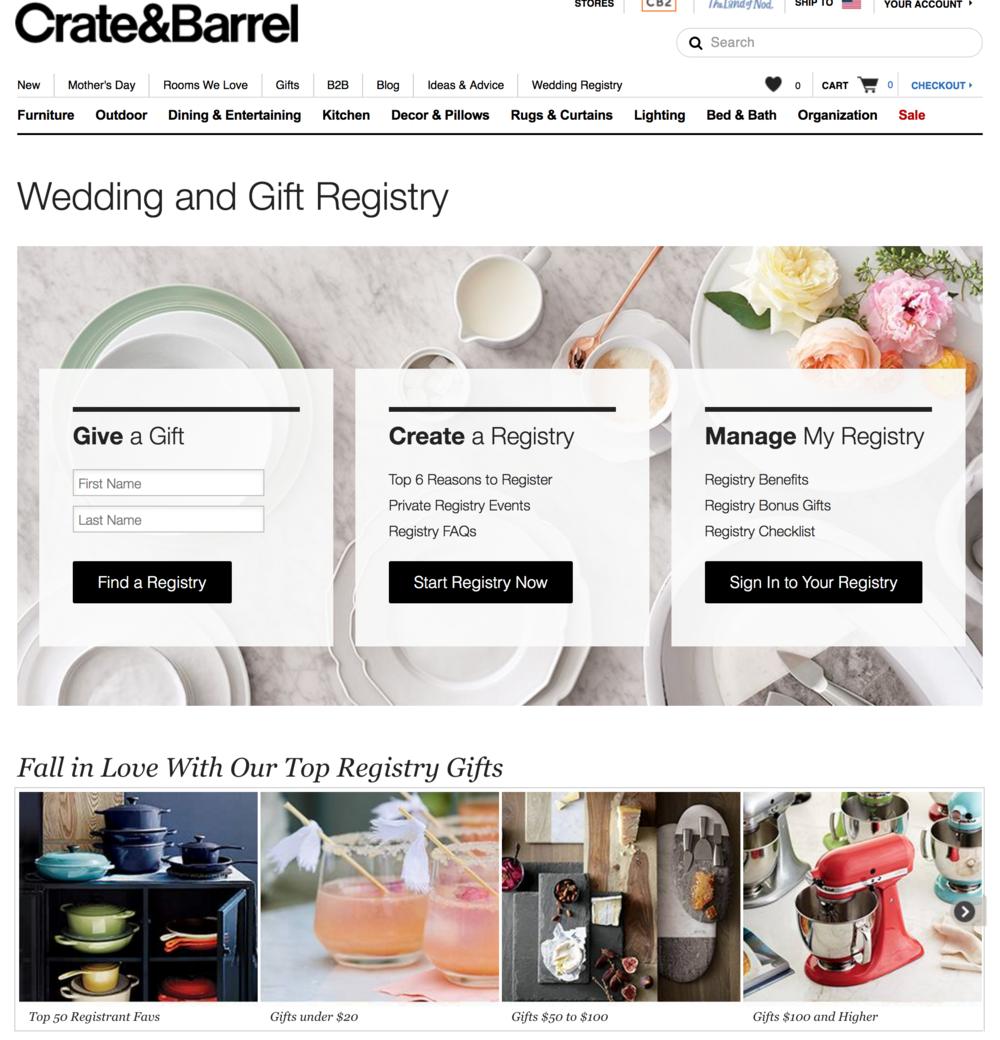 Crate and Barrel Wedding Registry from Cleveland Wedding Photographer Matt Erickson Photography