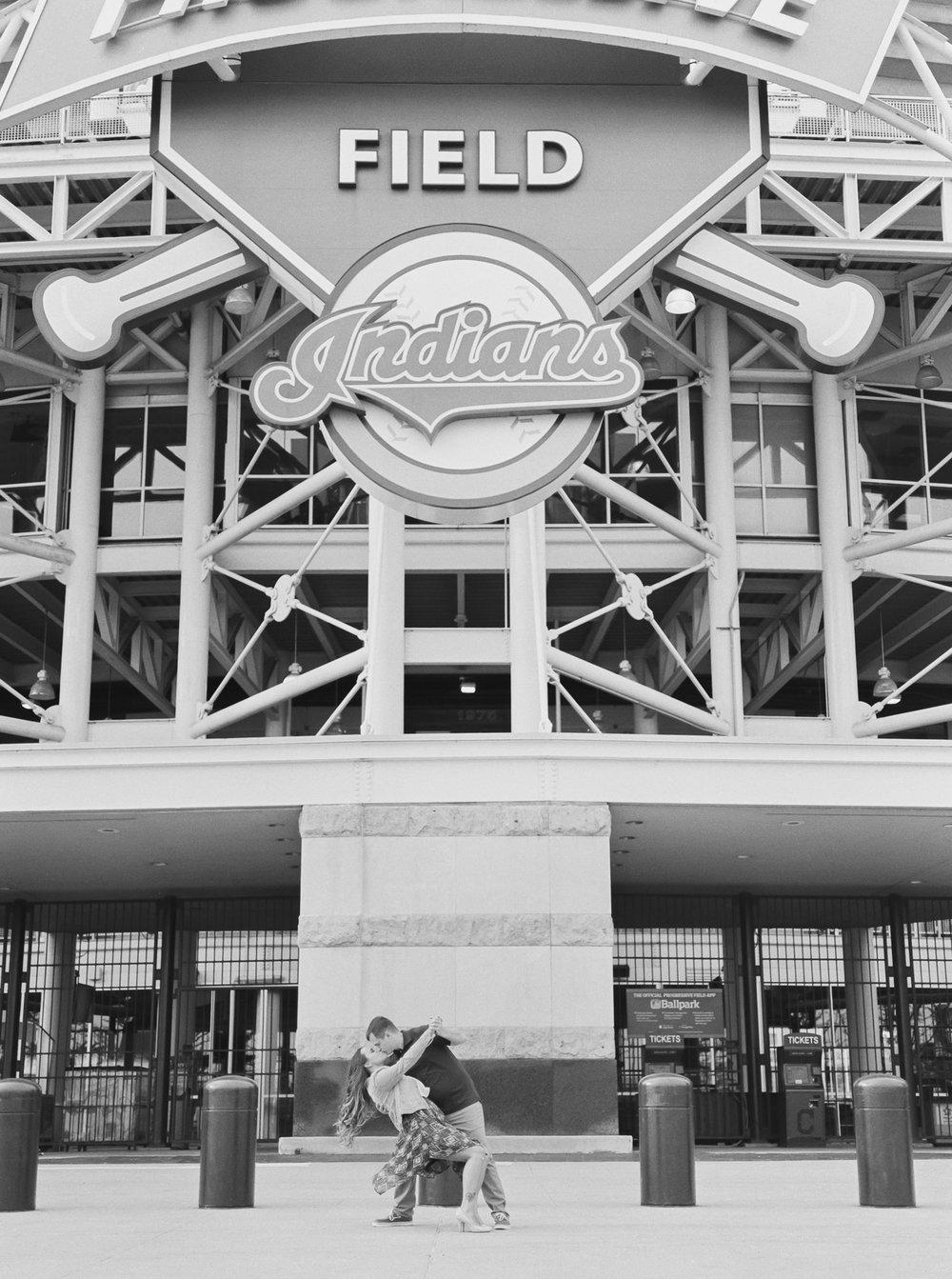 Cleveland Indians Engagement Photos by Cleveland Wedding Photographer Matt Erickson Photography