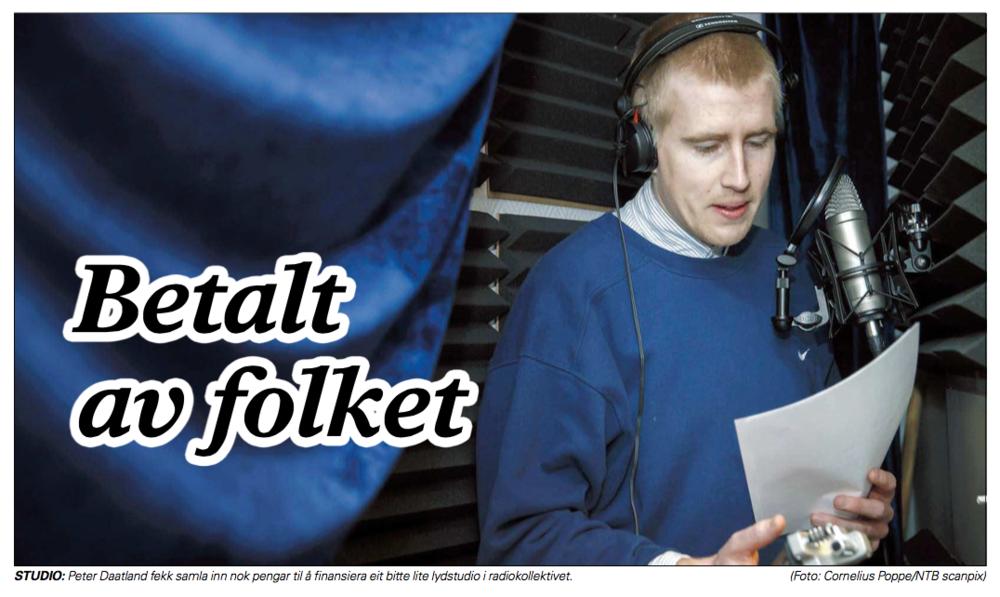 FOLKEFINANSIERING:Lokalaviser landet rundt lot seg fascinere av at vi samlet inn fem lapper til mini-studio. Skjermdump: Sogn Avis/NTB.