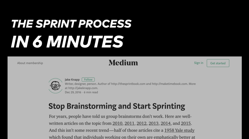 Stop Brainstorming and Start Sprinting