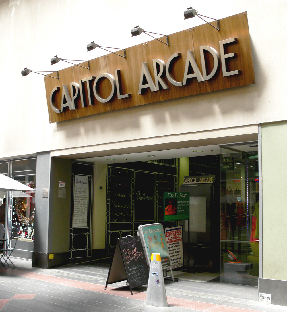 Capitol Arcade Sign on Howey Place