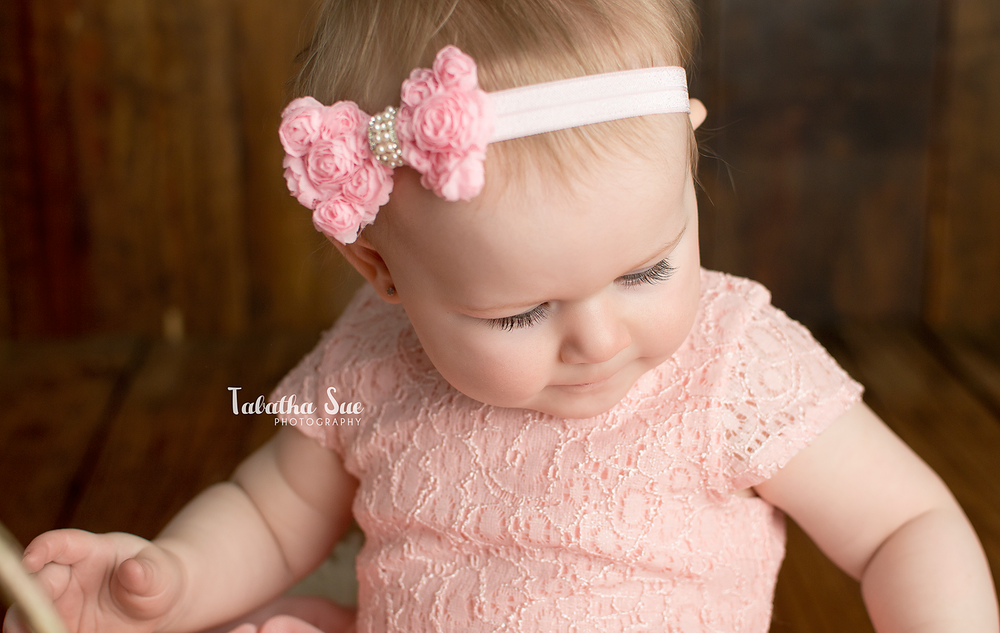 2016 02 Cleveland Ohio Newborn Photographer - Pink Bow Headband - Easter Spring Session - Baby Studio Professional Portraits