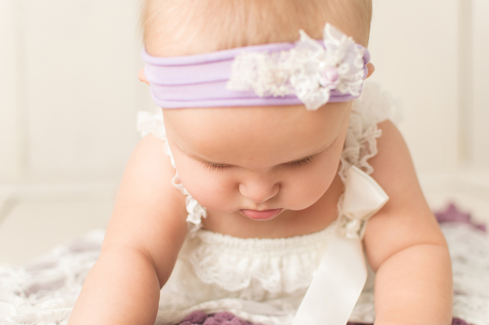 July 12 2015-Tabatha Sue Photography-Parma Heights Ohio-Cuyahoga County-Baby Photos-3 Month Baby Photos-Purple Headband with Flowers-Baby Cheeks and Lashes.jpg