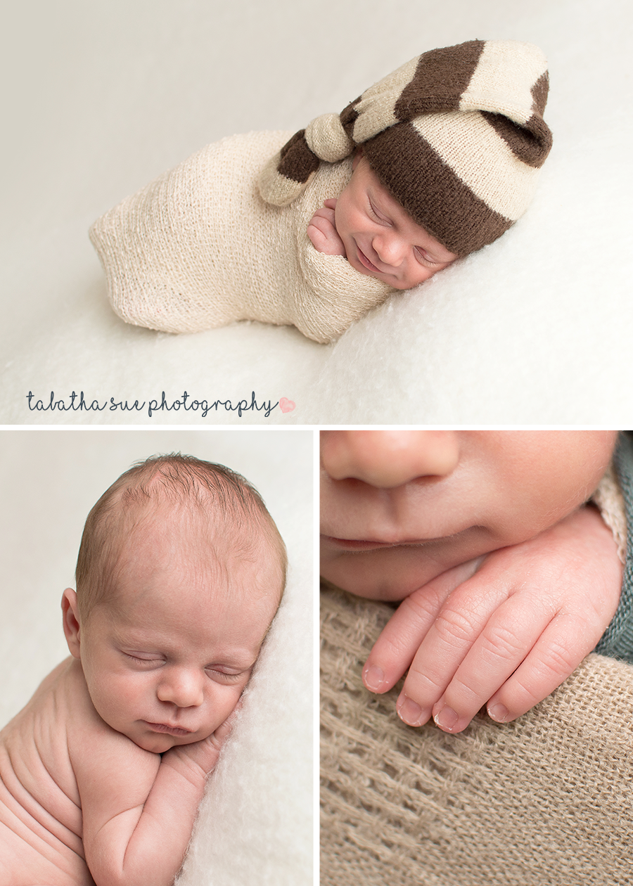 2-baby-photos-in-a-cleveland-ohio-home-studio-professional-photography-near-parma-heights-ohio-44130-smiley-newborn-with-a-cap-on-wrapped-in-tan-colored-wrap.png