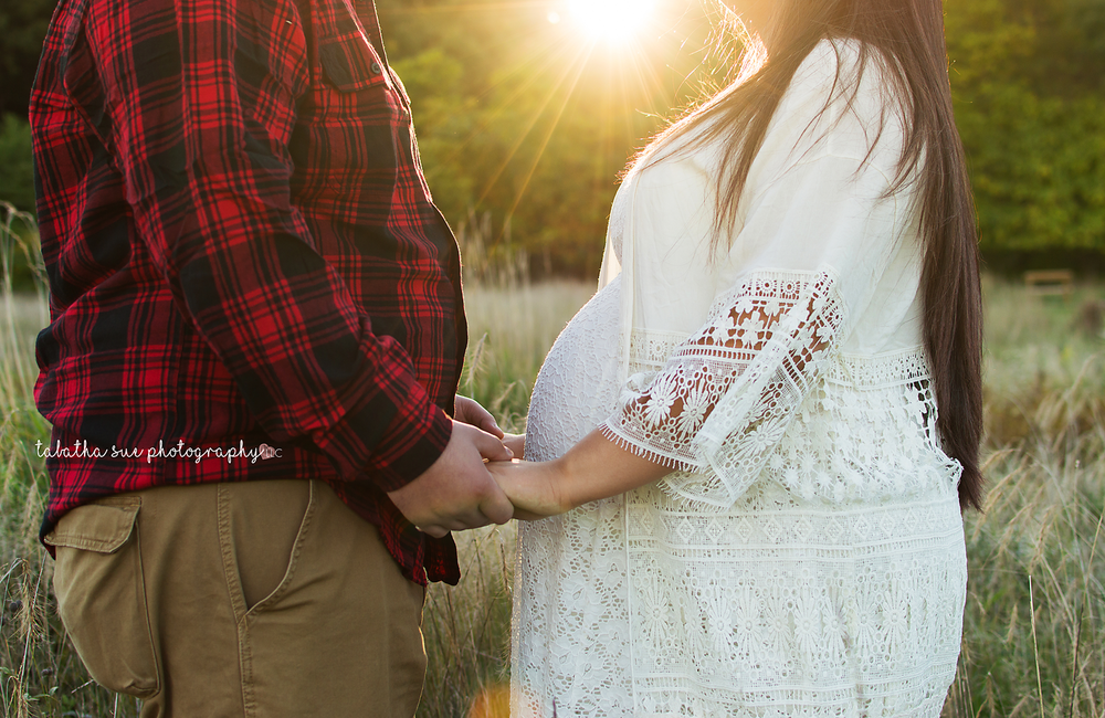 outdoor-maternity-photography-near-parma-ohio-in-west-creek-reservation-at-golden-hour-professional-photographer-white-dress-and-plaid-shirt.png