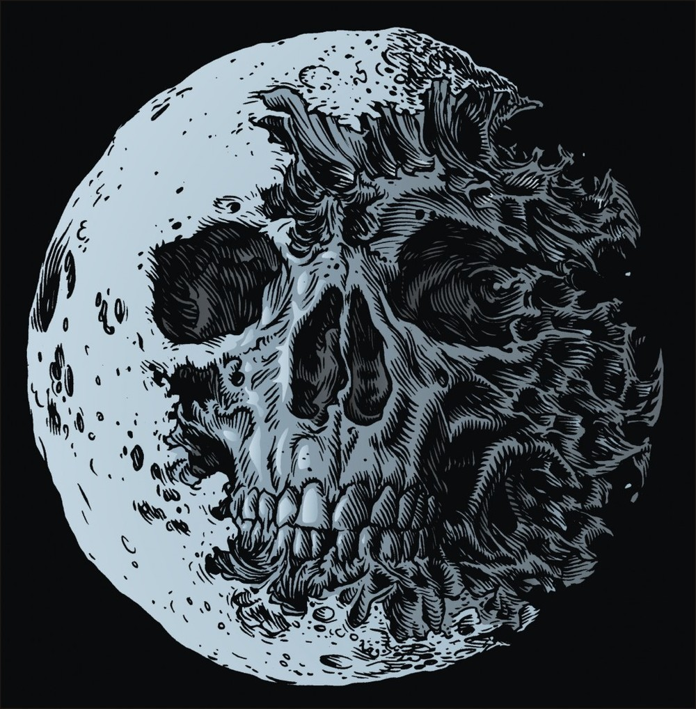 """DEAD MOON"" by Glenn Smith Ink on paper, digital colour. 2010"