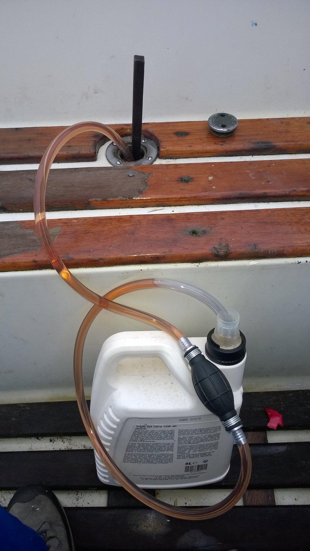 The diesel bug pump in use