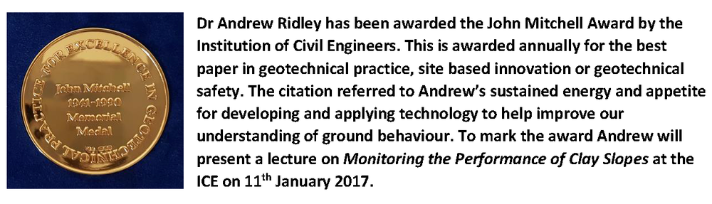 ICE members can view a recording of the lecture at https://www.ice.org.uk/eventarchive/john-mitchell-lecture-2017. Andrew will deliver the lecture again to The Midland Geotechnical Society at the University of Birmingham on Monday 3rd April 2017.