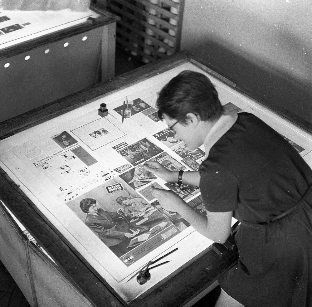 Fotó: Bajcsy-Zsilinszky út 78., Zrínyi Nyomda, a Magyar Rendőr című folyóirat nyomdai előkészítő munkálata, Budapest V. ker., Magyarország, 1964 © Fortepan / magyar rendőr