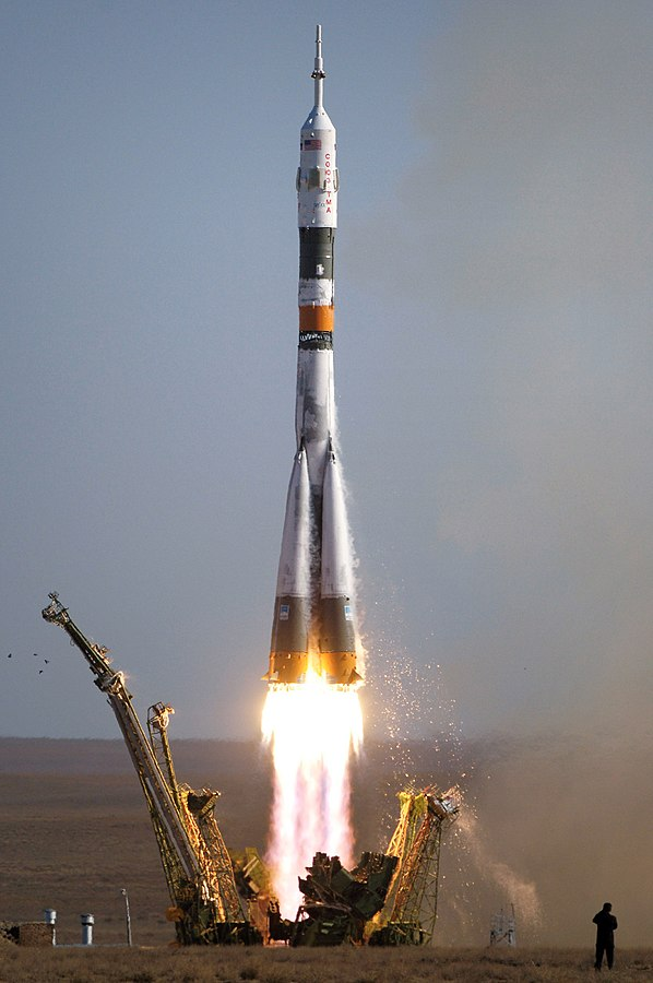 Soyuz rocket ship via Wikipedia. Photo by NASA/Bill Ingalls