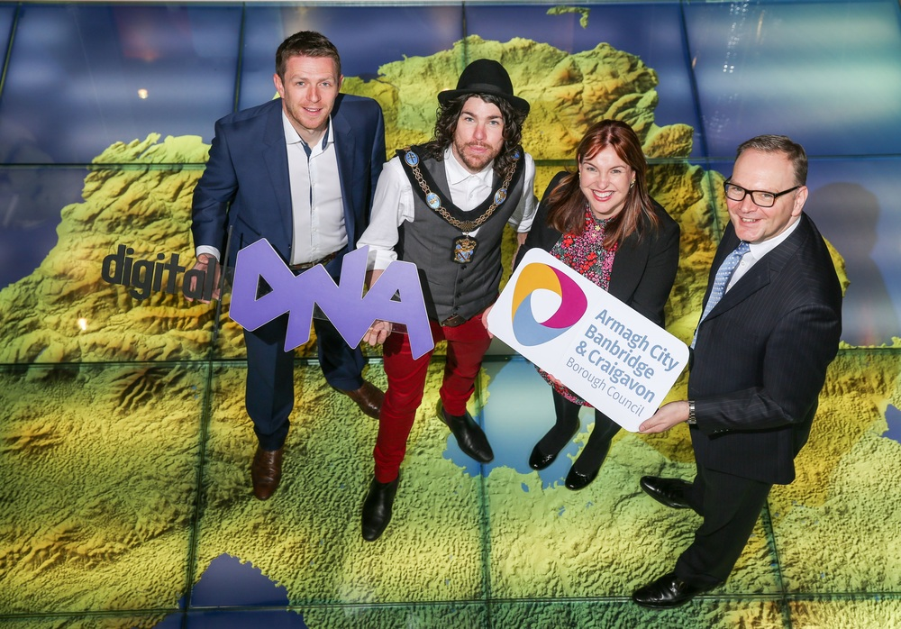 Pictured launching DNA Digital at Armagh's Planetarium are (from L-R) Gareth Quinn, Managing Director of Digital DNA and Councillor Garath Keating, Lord Mayor of Armagh City, Banbridge and Craigavon, Elaine McAlinden, Economic Development Officer and Roger Wilson, Chief Executive, both from Armagh City, Banbridge and Craigavon Borough Council.
