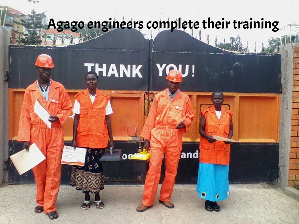 Technicians from Agago show off their certificates after training.jpg