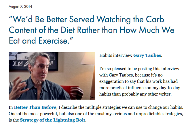 Screenshot from an interview with Taubes on  gretchinrubin.com
