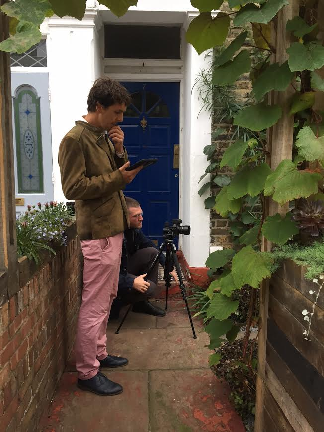 "Here's Dan working with the fabulous Oskar Proktor who undertook all our garden shoots, mostly at 5am ""for the best light"" - Oskar"