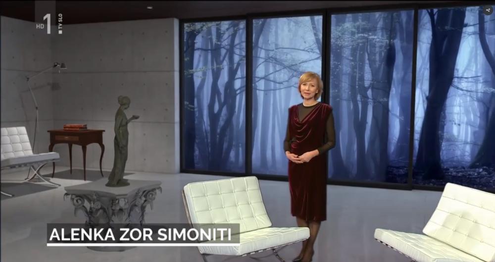 · Alenka Zor Simoniti v oddaji Pisave nosi obleko JSP