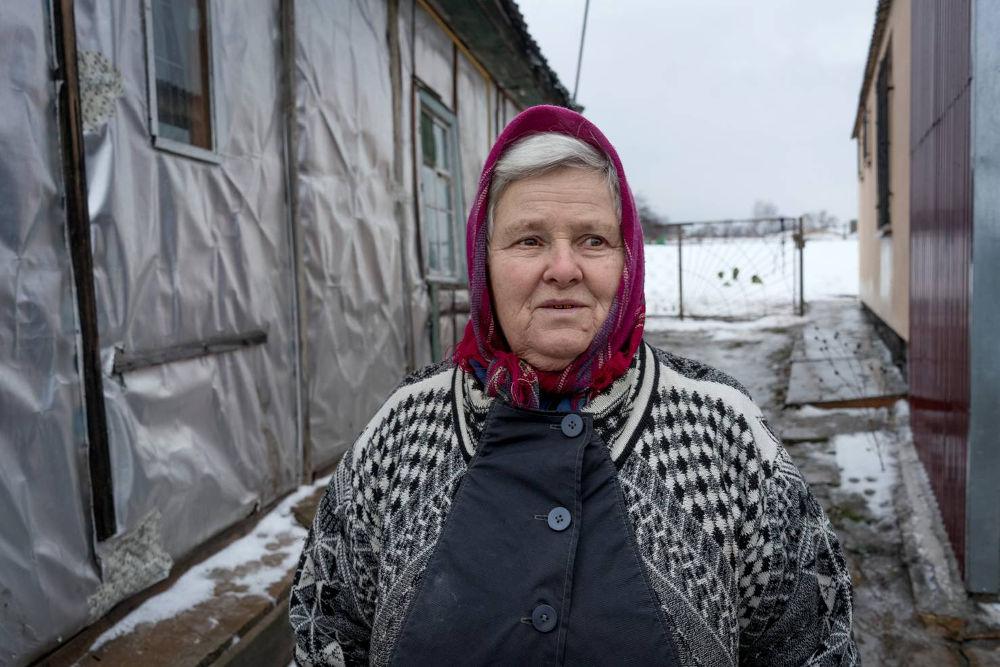 Retired woman in Bobritsya, Ukraine.