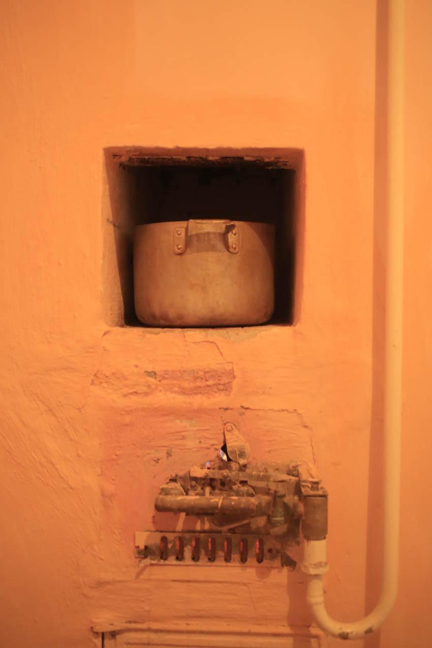Pot heating water.