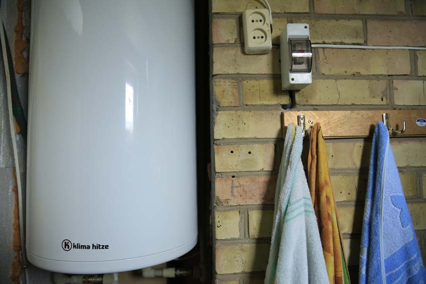 Hot water heater in cold home.