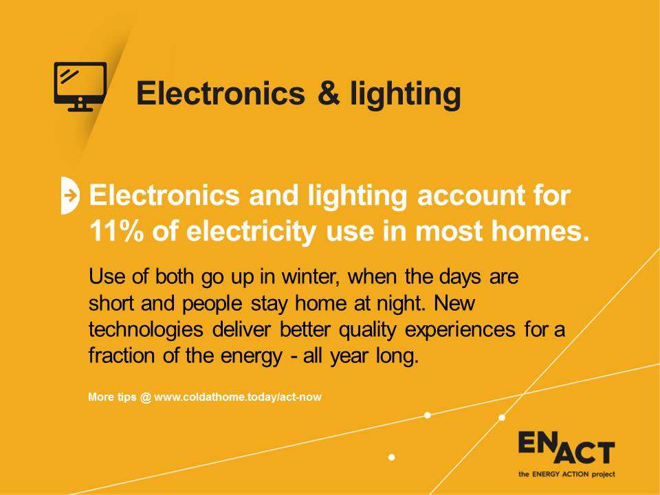 Electronics and lighting tips for electricity consumption.