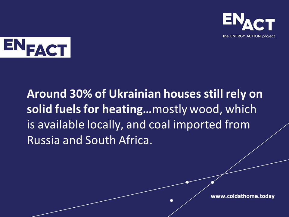 Ukrainian households depending on coal and wood for warmth.