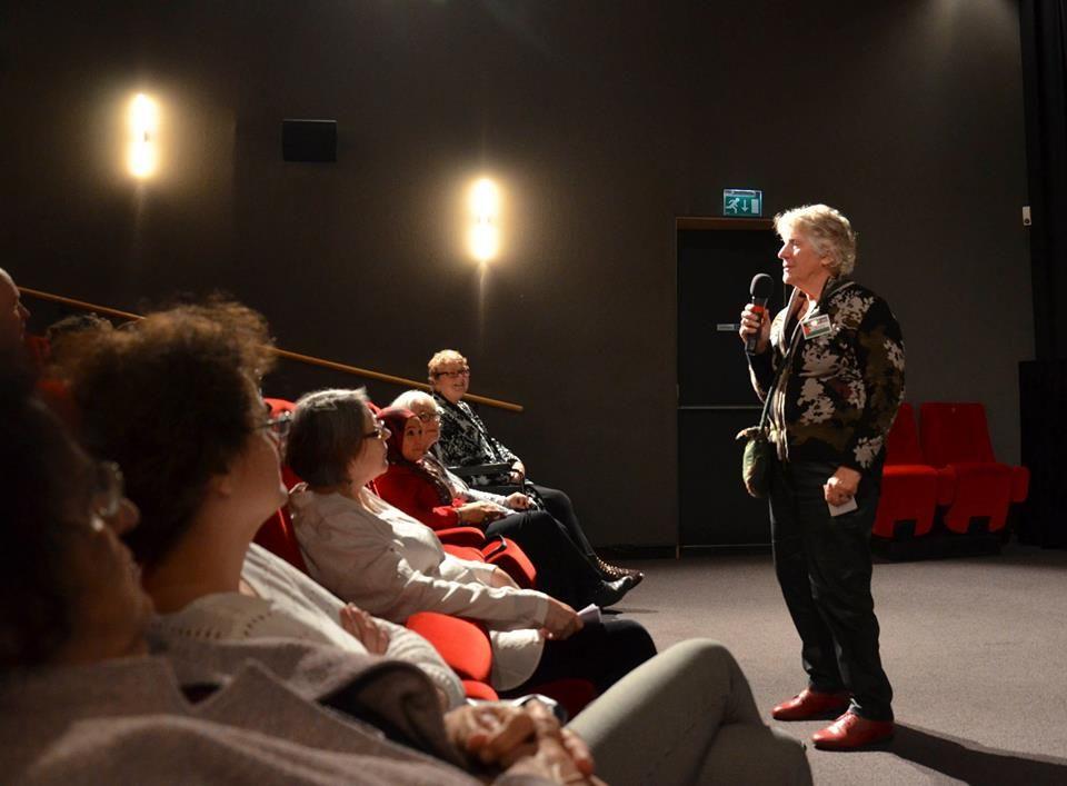 Jules Sol tijdens de Palestijnse Filmdag foto: Anja Meulenbelt
