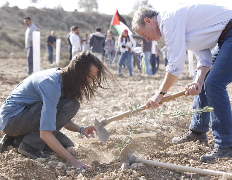Esther en Erik planten samen een olijfboom