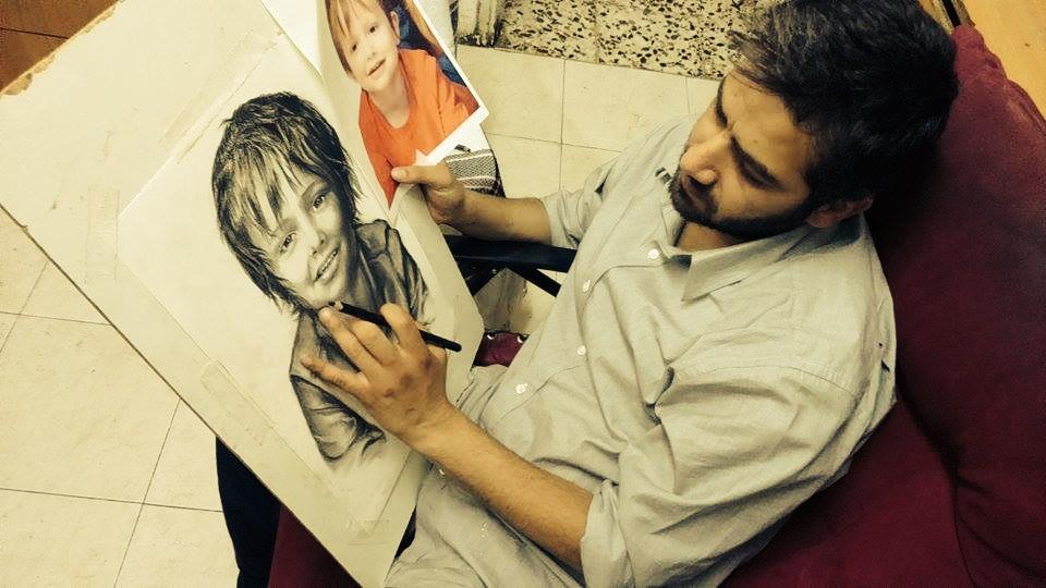 De Palestijnse ArtDivine doneerde een tekening van je eigen foto, shukran ektir!